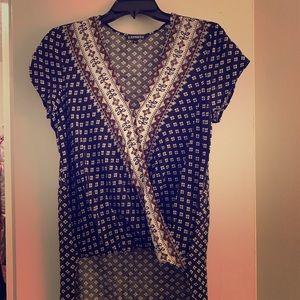 Black high low short sleeve v neck wrapover blouse